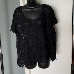 like new Torrid black lace see through blouse top